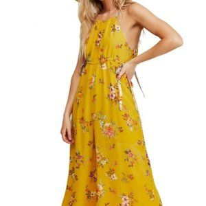 Free People Yellow Gold Flower Spring Jumpsuit L